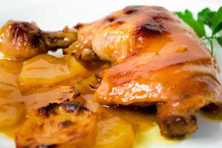 Pollo a la mostaza en caja china