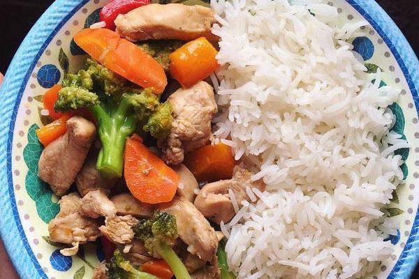 Dieta de Arroz, zanahoria, brocoli, pollo, pimentón rojo.
