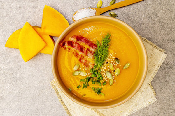 Sopa de Calabaza y Tocino